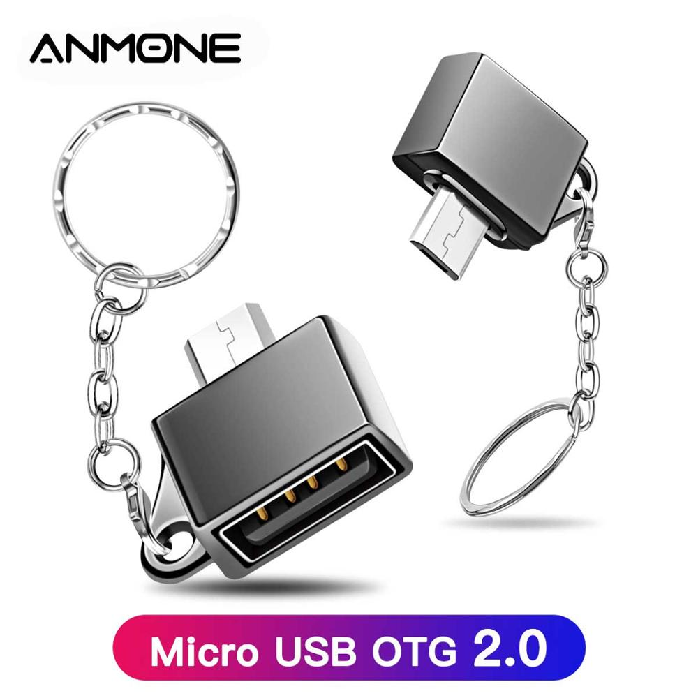 ANMONE Micro USB OTG Male To USB Female Connector Microusb Converter Adapter Type-A Flash Drive Data Charging Adapter With Chain