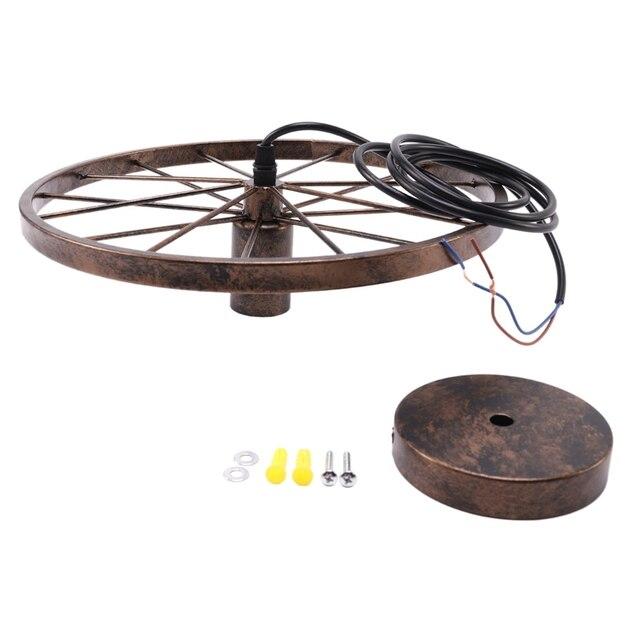 חדש רטרו ברזל אור תעשייתי מנורת נורדי מתכת גלגל אורות תליית מנורת E27 מקורה תאורת תקרת אור בית תפאורה