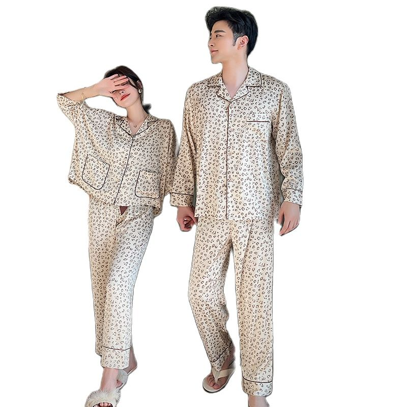 Summer Couples Pajama Set Women 2 Pieces Ice Silk Sleepwear Female Leopard Printed Contrasting Color Tops Trousers Home Clothing