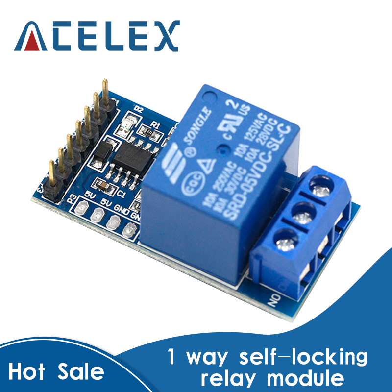 1 channel self-locking latching relay module , long locks, 30 seconds delay, self-locking mode with the microcontroller