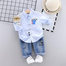 все цены на Casual Toddler Boys Clothes Autumn Clothing Kids Costume Baby Long Sleeve Print Blouse Tops+Denim Pants Trouser Children's Sets онлайн