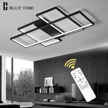 Светодиодный светильник для гостиной, столовой, спальни, черный и белый цвет, современный светодиодный, потолочный, внутреннее освещение, люстры, 220 В, 110 В