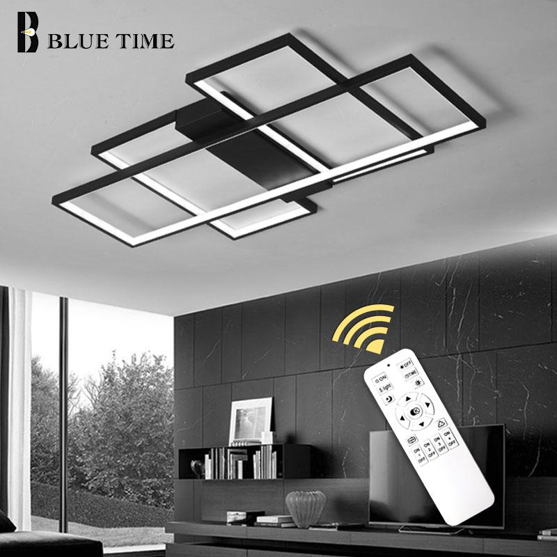 Blanc et noir anneaux LED lustre de plafond pour salon salle d'étude chambre en aluminium plafond moderne à LEDs lustre éclairage à la maison