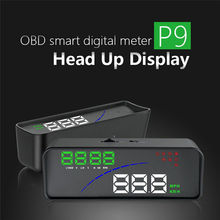 Car HUD Head Up Display OBD for P9 OBD2 EUOBD Water Temp Voltage HD Projector Display The Car Dashboard Over Speed Warning Alarm a8 car hud head up display car speedometer 5 5 inch windscreen projector obd2 code reader speed alarm voltage mph km h display