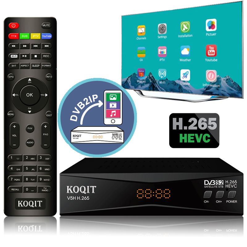 Koqit V5H H.265 HEVC DVB S2 Satellite Receiver Mirror Receptor DVB-S2 Satellite TV Receiver IPTV Decoder Wifi CS Biss/vu Meecast