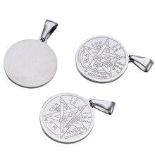 10 adet din Vintage 304 yassı paslanmaz çelik yuvarlak oyma Tetragrammaton kolye takı bulgular Pentagram kolye 27x24x2mm