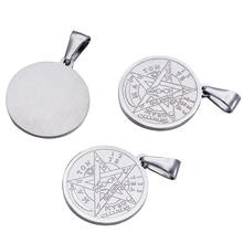 Collar religioso Vintage de acero inoxidable 304, colgante de pentagrama de 27X24x2mm, 10 unidades