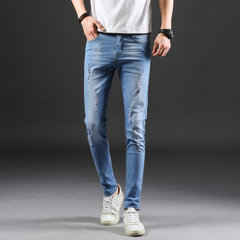 23 Jeans Men's Elasticity Slim Fit Skinny Pants Korean-style Trend New Style Light Color Slimming Casual With Holes Long Pants