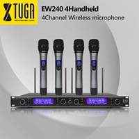 XTUGA Top Quality EW240 4 Channel Wireless Microphones System UHF Karaoke System Cordless Four Handheld Mic Bodypack Home Party
