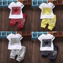 Модная одежда для маленьких мальчиков летний костюм с короткими рукавами для малышей Детская Хлопковая футболка повседневные штаны в клетку с пятью звездами
