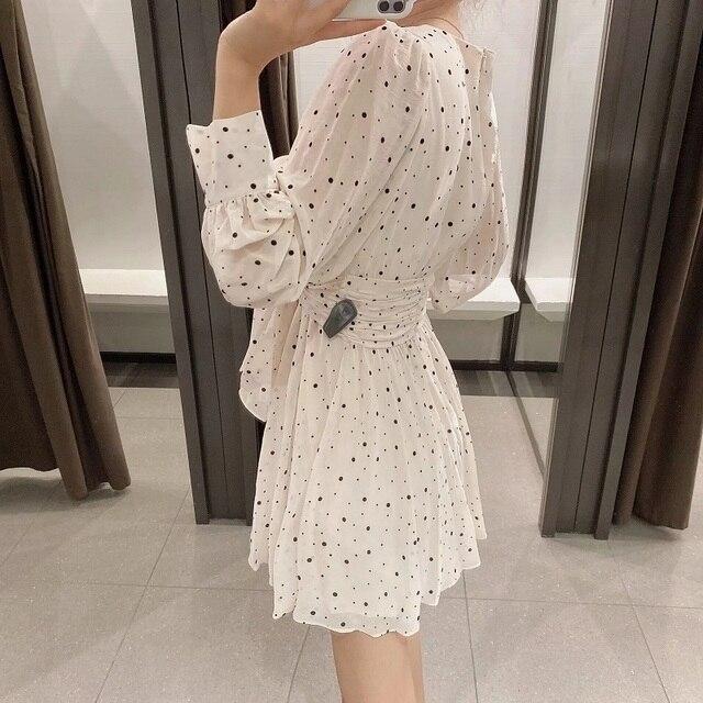 Za Dress Woman 2020 Polka Dot Mini Dress Long sleeve V-neckline Zip fastening White Women's Dresses for Summer 4