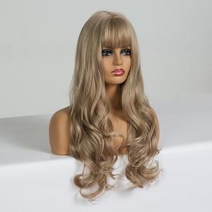 Image 2 - EASIHAIR uzun koyu sarı sentetik peruklar saç dalga peruk kadınlar için afrika amerikan isıya dayanıklı yüksek sıcaklık peruk Cosplay
