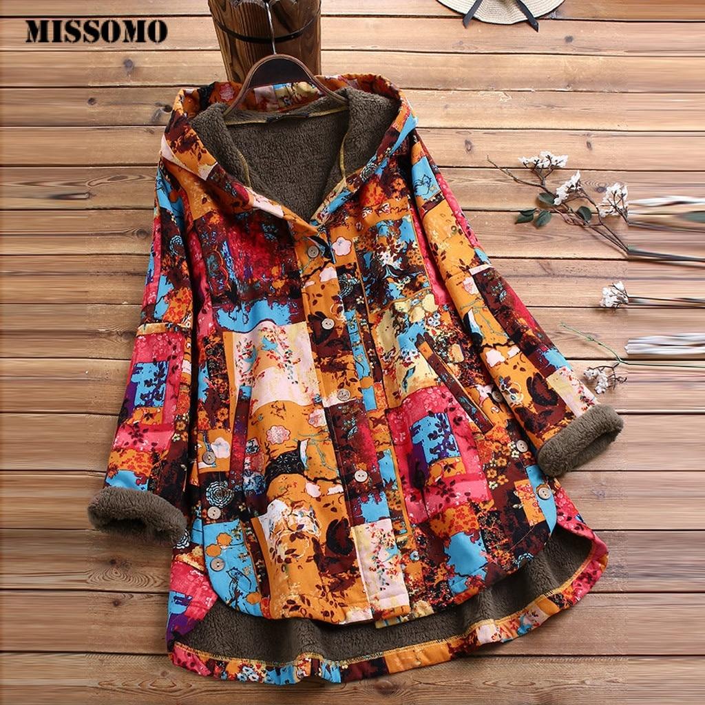 MISSOMO Women Thick Fleece Warm Overcoat Vintage Printed Asymmetrical Button Plus Size S 5XL Hooded Coat Innrech Market.com