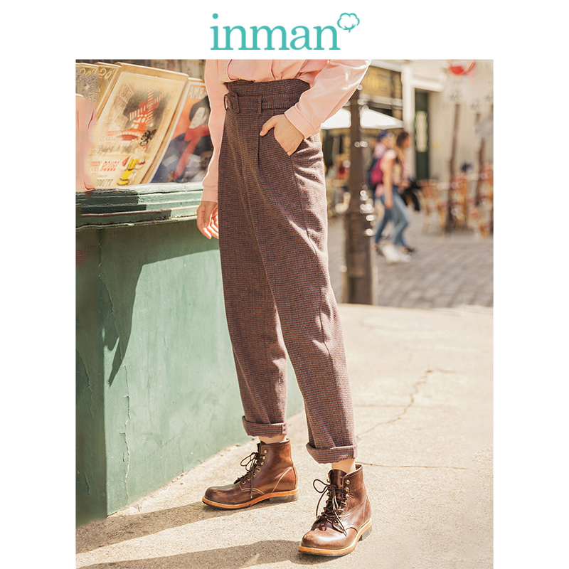 INMAN 2019 Winter New Arrival Literary Retro High Waist With Belt Plaid Loose Thick Women Long Pants