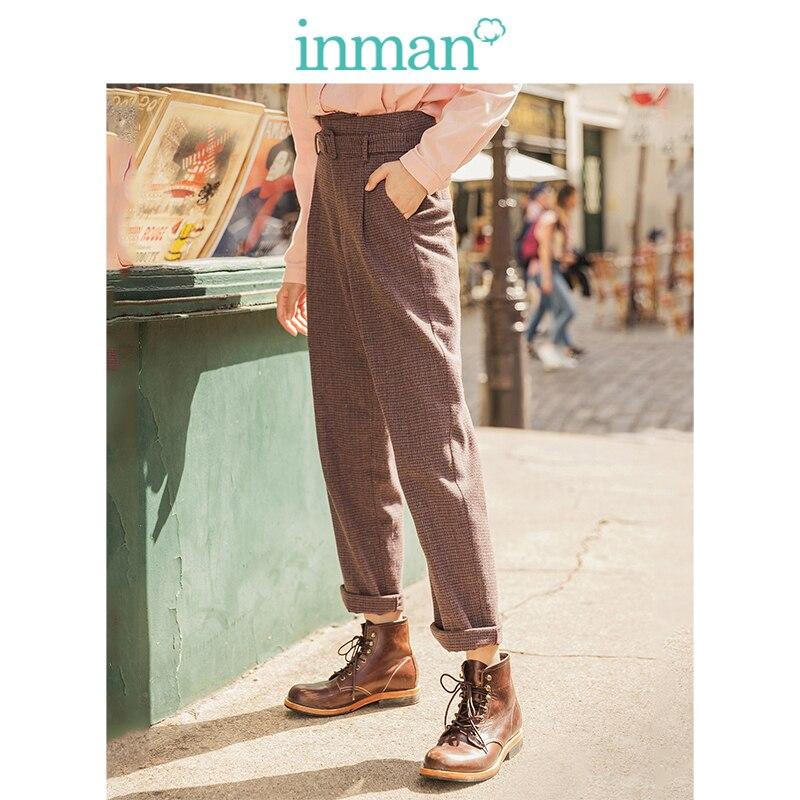 INMAN 2019 hiver nouveauté littéraire rétro taille haute avec ceinture Plaid ample épais femmes pantalons longs