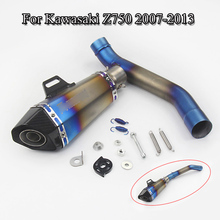 Motorcycle Exhaust Complete Set Pipe Mid Link Pipe Connect Exhaust Muffler Tail Pipe For Kawasaki Z750 Slip On 2007-2013 Escape