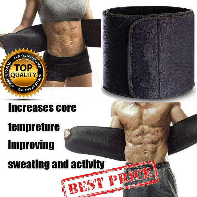 Unisex Gym Waist Belt Women Mens Sweat Wrap Tummy Stomach Exercise Weight Loss Fat Burner Sauna Slim Shaper