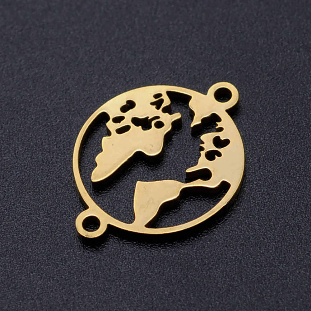 5 Buah/Banyak Peta Dunia DIY Hiasan Grosir 100% Stainless Steel Pi Jigsaw Puzzle Konektor Pesona Panah Wajah Senyum Perhiasan Liontin