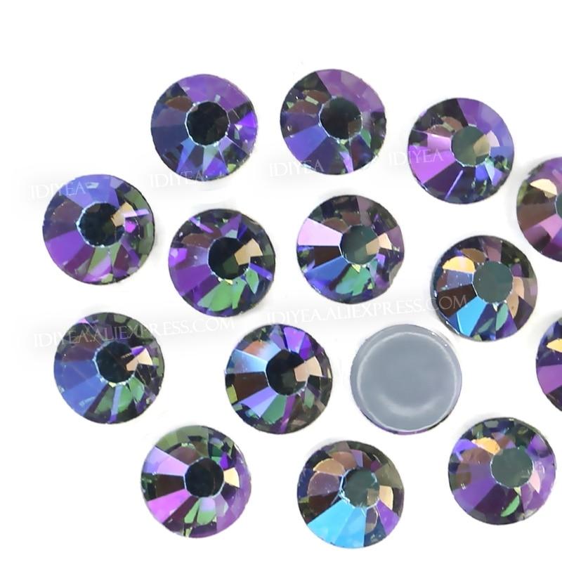 Черные алмазы AB горячей фиксации стразы с плоской задней стороной стеклянная вышивка Кристалл DIY Блестки Стразы Алмаз утюгом на ткани одежд...