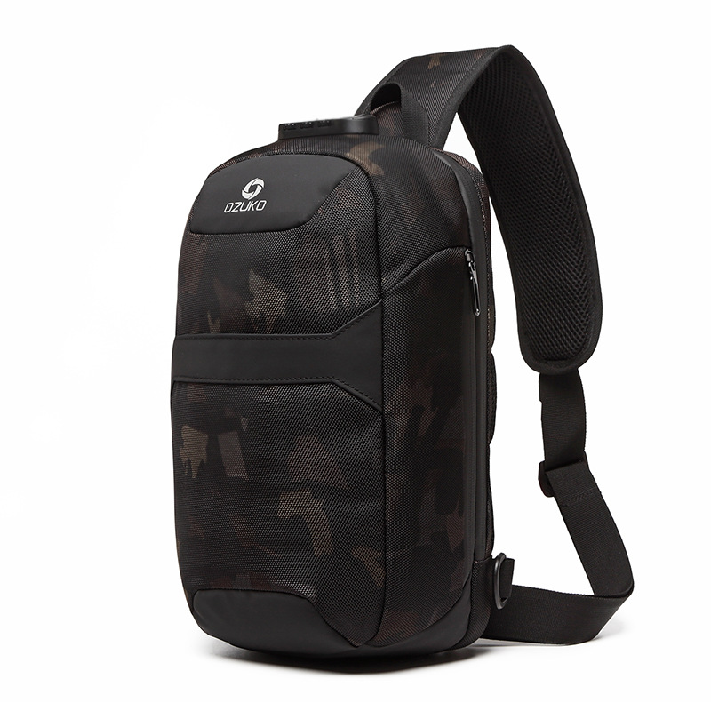 OZUKO Men Anti-theft Crossbody Bags Male Waterproof USB Charging Chest Pack Short Trip Messenger Sling Bag Shoulder Chest Bag