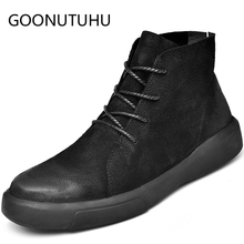 fashion mens ankle boots autumn winter casual leather shoes male big size 38-47 army boot man work shoe military for men