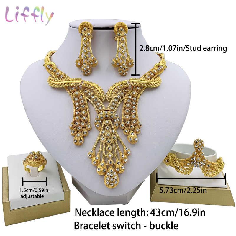 LIFFLY Dubai Jewelry Sets Big Necklace Classic Water Drop Shape Bracelet Earrings Ring for Women Wedding Jewelry Sets for Bride