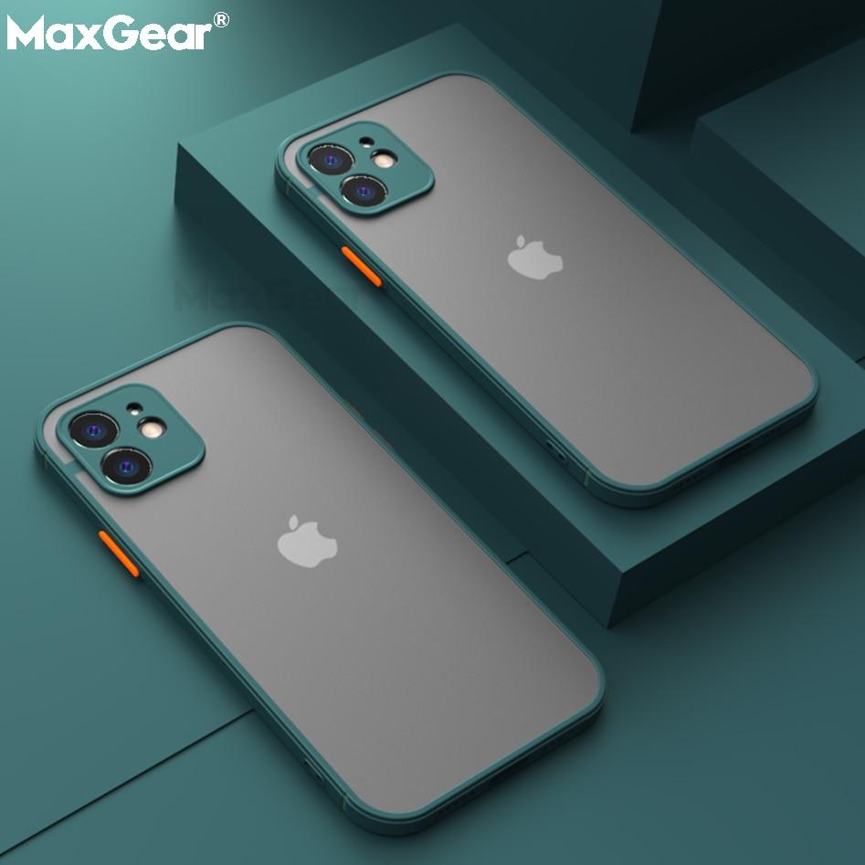 Custodia opaca antiurto per iPhone 12 11 Pro Xs Max XR X 6 7 8 Plus SE Mini paraurti in Silicone di lusso trasparente custodia rigida per PC Funda 1