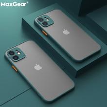 Stoßfest Rüstung Matte Fall Für iPhone 12 11 Pro Xs Max XR X 6 7 8 Plus SE Mini Luxus silikon Bumper Klar Harte PC Abdeckung Funda