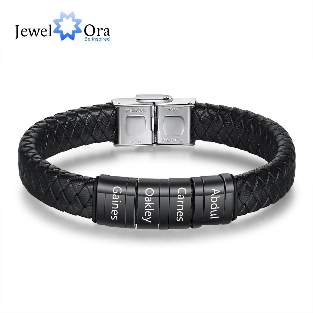 JewelOra Personalisierte Männer Geflochtene Leder Armbänder mit Custom Perlen Eingraviert Familie Name Edelstahl Armbänder für Männer Dad