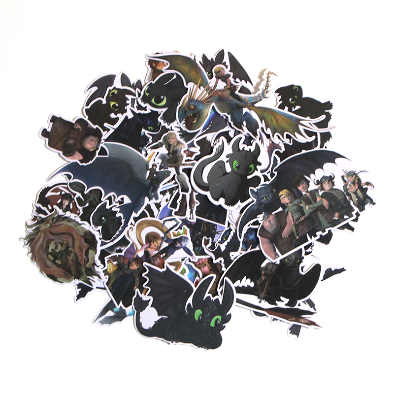 CA69, 20 шт./набор компл./лот, футболка с изображением героев мультфильма «Как приручить дракона Ночная фурия Беззубик Скрапбукинг альбом Чемодан телефон настенный гитарная наклейка