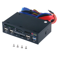 Lector de tarjetas multifunción USB 3,0 Hub ESATA SATA, Panel frontal de Audio para PC, SD, MS, CF, TF, M2, MMC