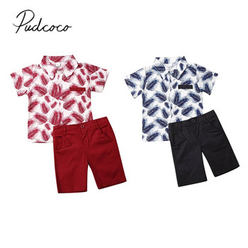2019 Baby Summer Clothing Newborn Kid Baby Boys Party Casual Tops Feather Print T-shirt Solid Pants Shorts Outfits Clothes 1-5T 1