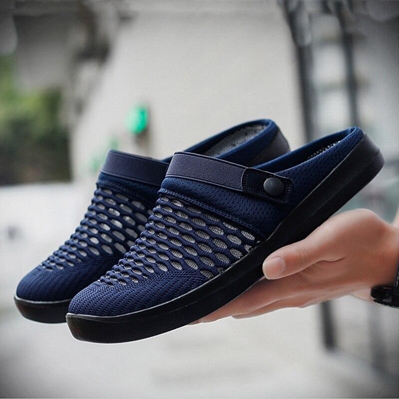 Merkmak, zapatillas de hombre 2020, zapatillas informales de verano para hombre, sandalias de playa informales con agujeros, chanclas, zapatos antideslizantes para hombre Zapatillas de piel