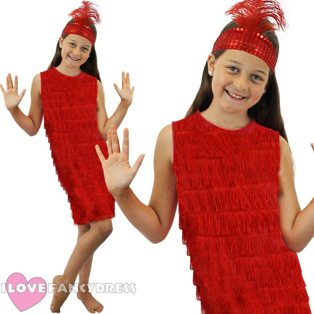 GIRLS RED FLAPPER DRESS AND HEADPIECE 1920'S FANCY DRESS CHARLESTON COSTUME S-XL