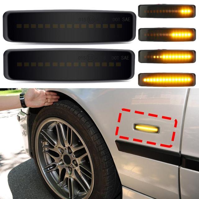 Luz marcador de led dinâmica para carro, 2 peças, amarelo, flutuante sequencial, seta, 12v para bmw e39 suprimentos de ajuste de carro