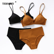 TERMEZY High Quality Cotton Underwear Set Fashion Striped Bra Set Noble Girl Lingerie Set Push Up Bra Sexy Bra And Panty Sets(China)