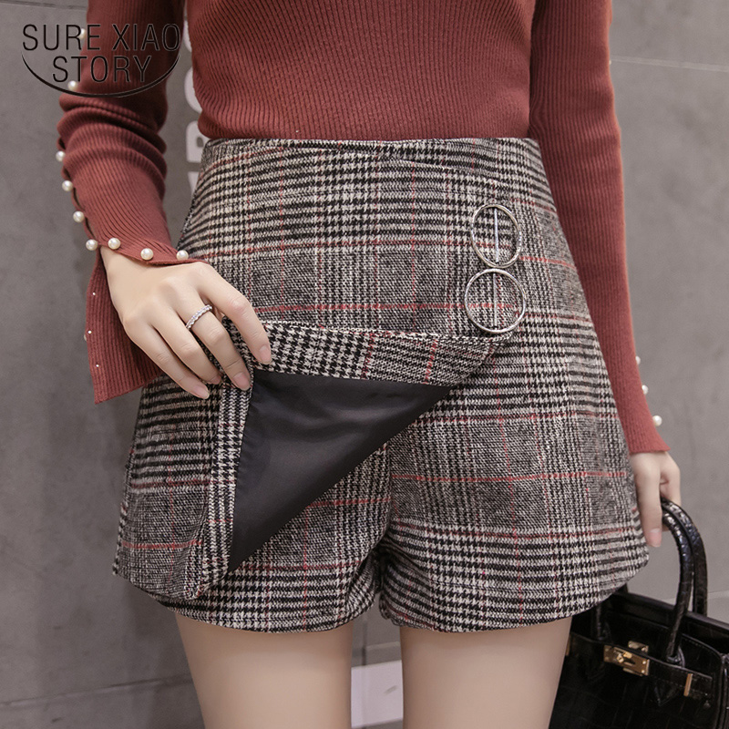 2019 Autumn And Winter Fashion Womens Shorts Women Loose Sequined Plaid Zipper Fly Shorts High Waisted Shorts For Female 7402 50