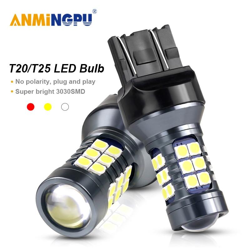ANMINGPU 2x сигнальная лампа T20 Led 7443 W21/5W W21W Led 7440 3030SMD T25 3157 P27/7W Led 3156 P27W, парковочные огни, фонари заднего хода 12 В