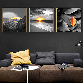 Modern Scenery Nordic Canvas Painting Print Wall Art Home Decor Poster Yellow Fresh Landscape Picture Art Painting for Bedroom image