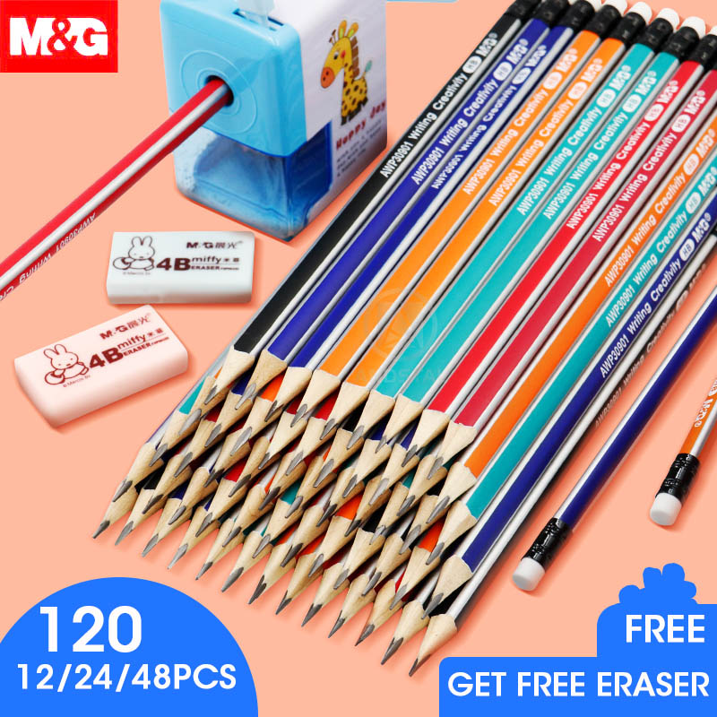 M&G 12/24/48/120pcs Pre-Sharpened Triangular HB Wood Pencil With Eraser Lead Pencils Graphite Pencil For School Supplies Kids