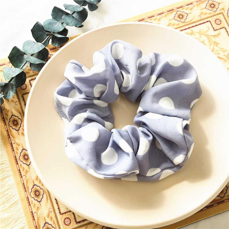 Cintas elásticas para el cabello con estampado de lunares grandes de chifón para mujeres y niñas, soporte para Coleta, lazos para el cabello, accesorios para el cabello, cuerda