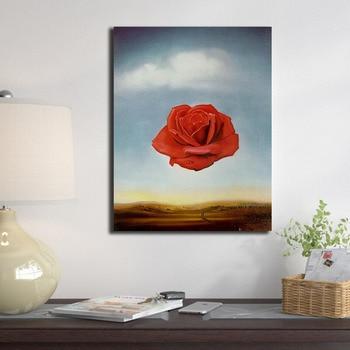 Salvador Dali Meditative Rose Flower Poster Painting Wall Art 1