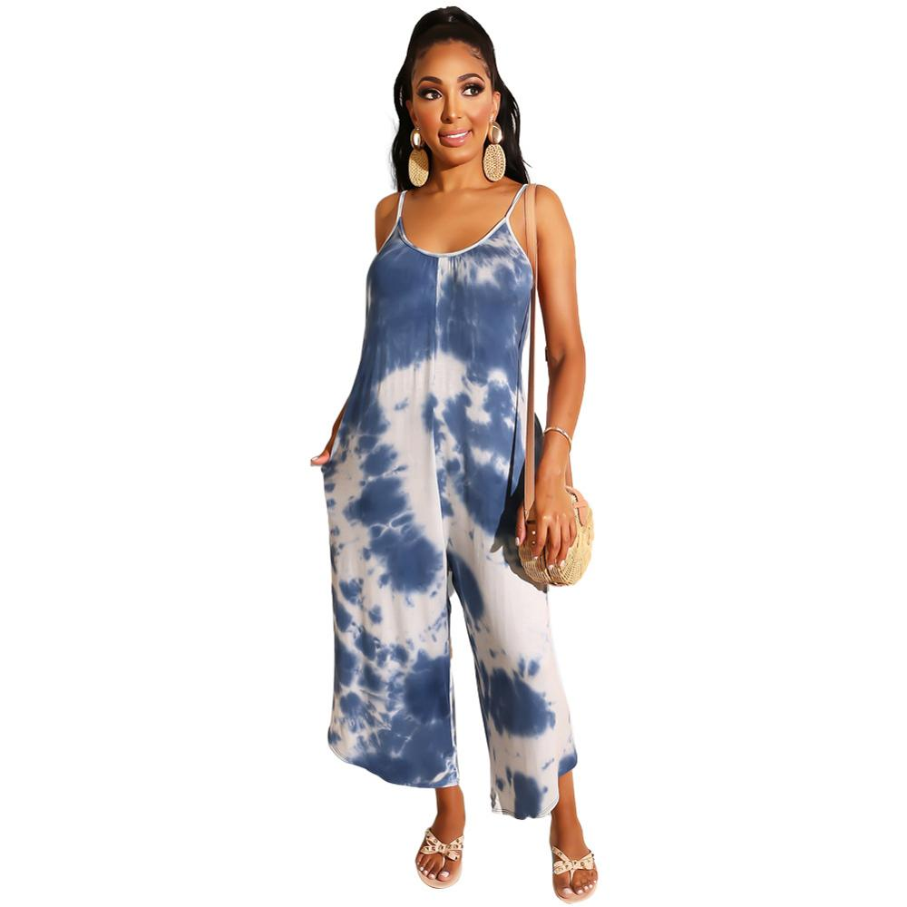 Adogirl Summer Casual Women Jumpsuits Tie-dyed Printed Spaghetti Strap Looes Jumpsuits Wide Leg Long Pant Vintage Rompers