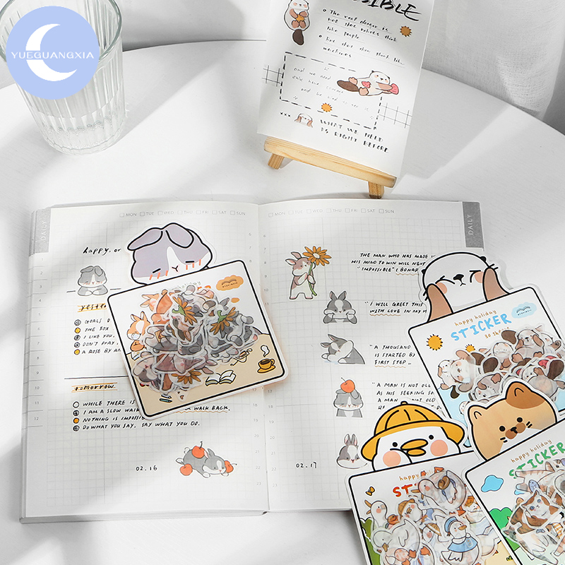 YueGuangXia 30Pcs/bag Adorable Korea Animal Deco Diary Sticker Creative Fresh Scrapbooking Planner Decorative Stationery Sticker