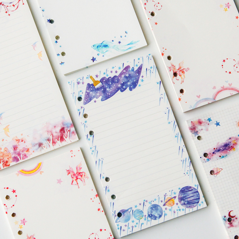 45 Sheets A6 Grid/Line/Blank Refills 6 Holes Loose-leaf Notebook Core Notepad Pages Pink & Blue