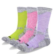 YUEDGE 3 Pairs Women Cotton Cushion Crew Socks Outdoor Sports Hiking Walking Running Climbing Backpacking Athletic