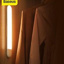 Baseus-Lámpara LED con Sensor de movimiento PIR para armario, luz cálida de noche con imán de pared, USB