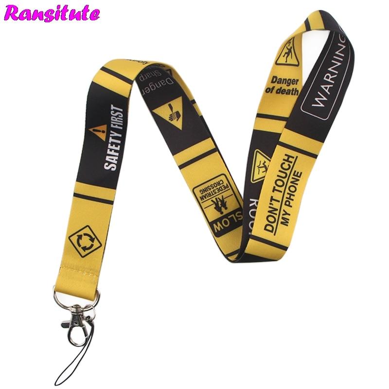Ransitute R499 Warning Sign Keys ID Card Gym Mobile Phone Straps USB Badge Holder DIY Phone Hang Rope Lanyard