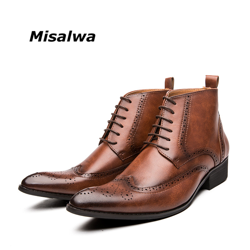 Misalwa Brogue College Style Men Chelsea Boots Lace Up Versatile Leather Male Shoes Wedding Party Ankle Casual Short Boots