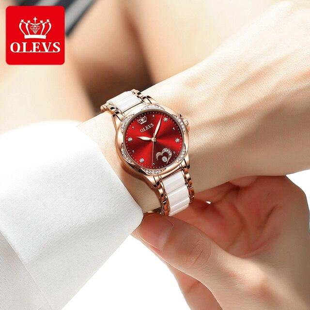 OLEVS Women's Automatic Watch Ceramic Steel Strap Waterproof Mechanical Watches Brand Luxury Ladies Wrist Watch Relogio Feminino 4